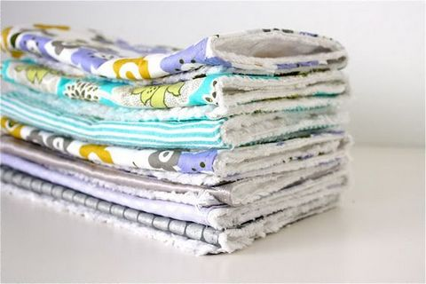 Folded baby's burp cloths
