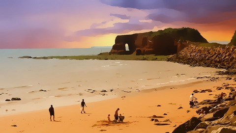 Printed art beach scene
