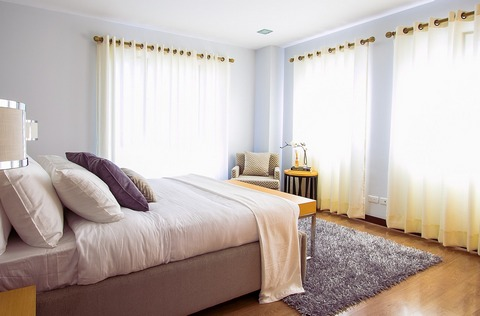 Curtains provide privacy and allow daylight in