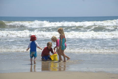 Children's vacation fun on the beach