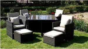 Garden furniture set made of wicker