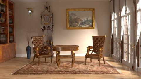 Wood and leather furniture set