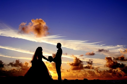 Wedding at sunset in tropics