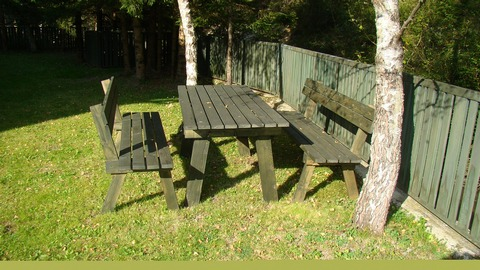 Basic garden furniture setting made from wood